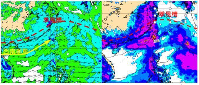 歐洲模式(ECMWF)模擬1日20時850百帕風場圖(左圖)顯示,季風槽調整至台灣附近,西南季風吹向台灣。模擬同時的地面氣壓及累積雨量圖(右圖)顯示,台灣有大量降雨。圖/取自「三立準氣象.老大洩天機」專欄