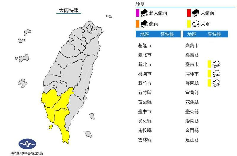 中央氣象局發布大雨特報,西南風影響,易有短延時強降雨,今天南部地區有局部大雨發生的機率,注意雷擊及強陣風。圖/取自氣象局網站