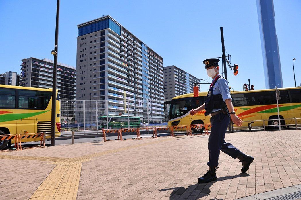 日本東京中央區晴海町的東奧選手村,攝於21日。據日媒報導,東京奧運選手村的駐衛警...