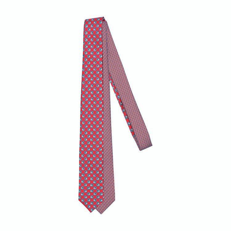 22.6公分斜紋真絲領帶(雙圖紋印花拼接領帶),7,700元。圖/愛馬仕提供