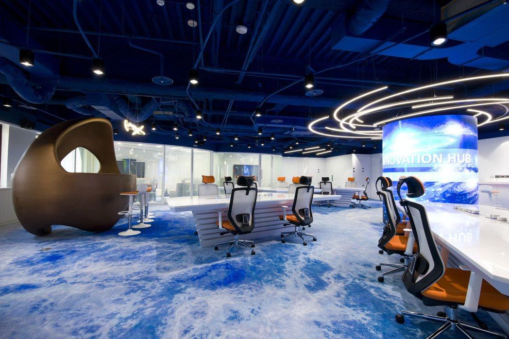 貿協新單位「創新業務中心」以宇宙為概念的辦公室。圖/貿協提供