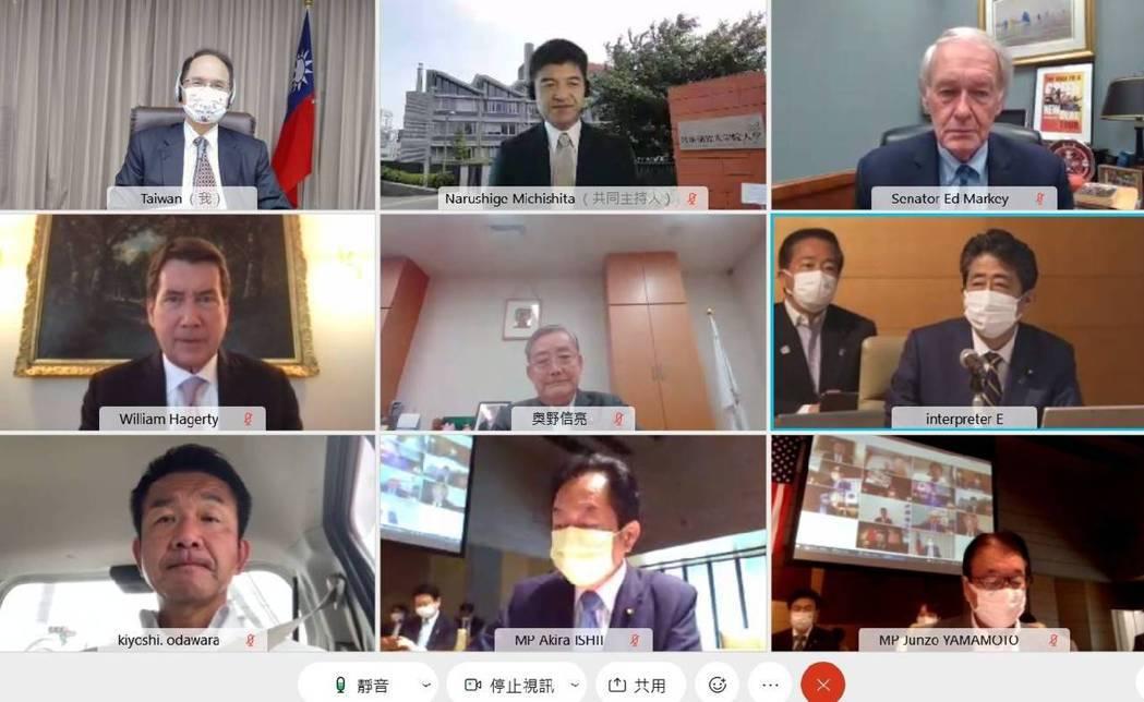 立法院長游錫堃(左上)今天出席首屆「台美日國會議員戰略論壇」。圖/立法院提供