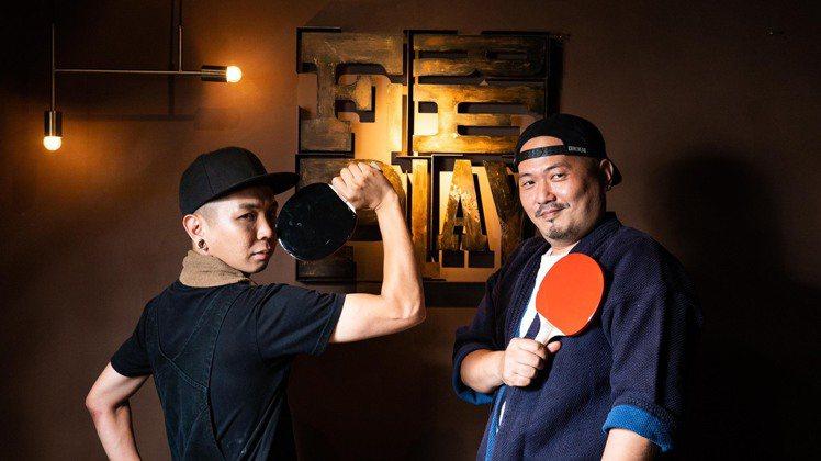 號稱「最中二的調酒冠軍」、HiBoRu負責人黃俊憲(右)與FirePlay主廚N...