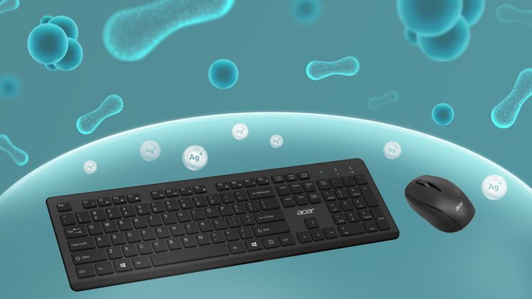 Acer無線抗菌鍵鼠組售價1,299元,具備銀離子抗菌劑塗層。圖/宏碁提供