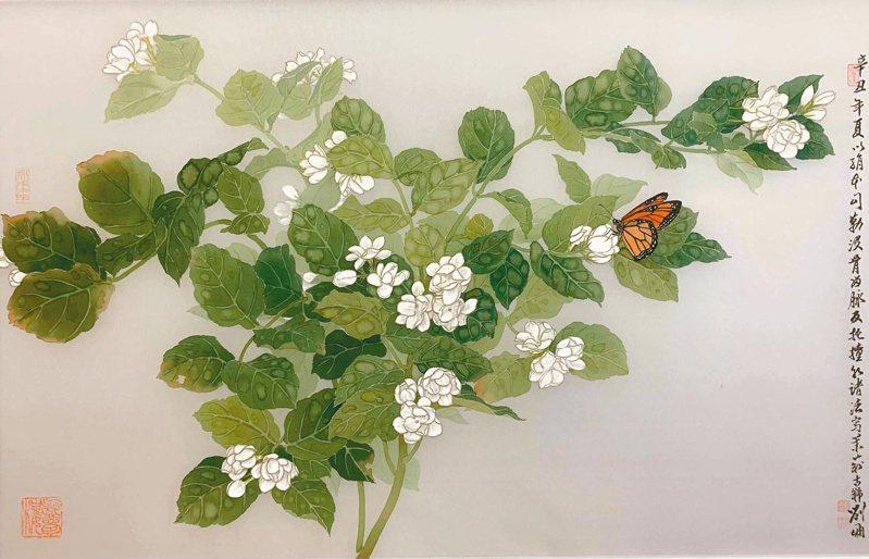 劉墉〈茉莉蝴蝶〉,絹本,2021。(圖/劉墉提供)