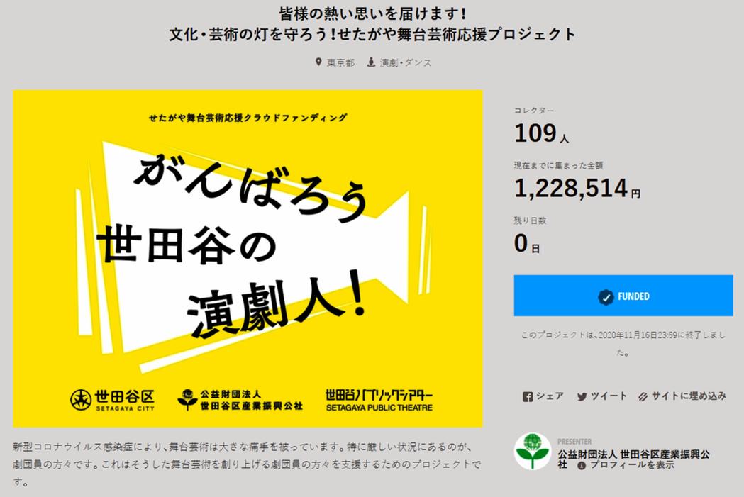 由東京世田谷區產業振興公社統籌的「加油吧!世田谷區的劇場人」集資活動,整合募集到...