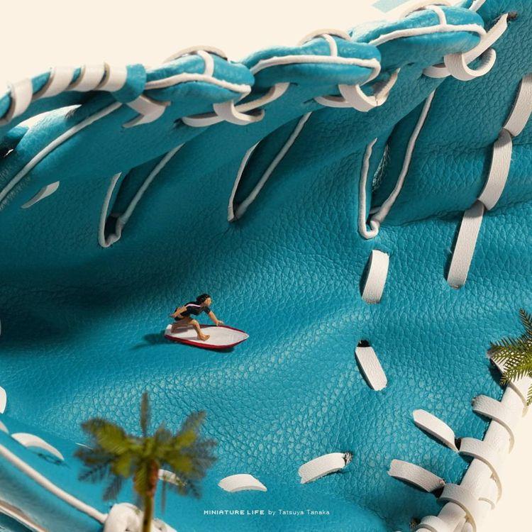 短板衝浪比賽的海浪以棒球手套設計。圖/取自IG