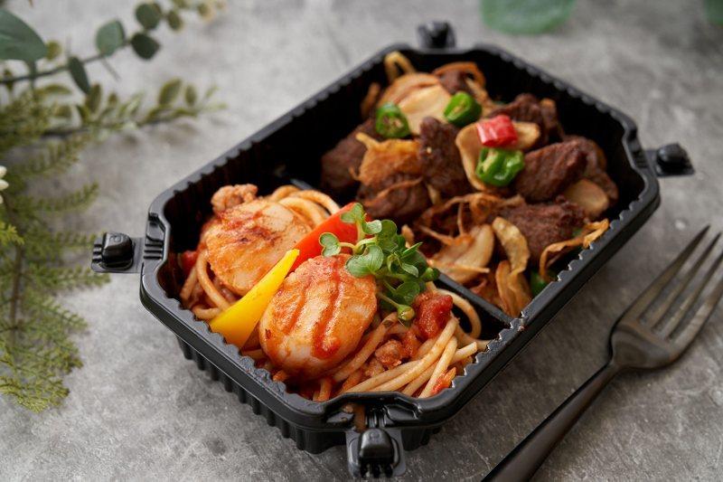 「海味萌牛」干貝牛排義大利麵外帶包裝。 台北福華/提供