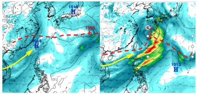 歐洲(ECMWF)模式模擬5日20時850百帕風場圖顯示,日本東南方海面有低氣壓,在季風槽上發展,強度很弱;西南季風吹向台灣(左圖)。最新美國(GFS)模式,同時的模擬顯示,低氣壓在琉球附近發展,強度較強,但已在台灣下游(右圖)。圖擷自tropical tidbits。圖/取自「三立準氣象.老大洩天機」專欄