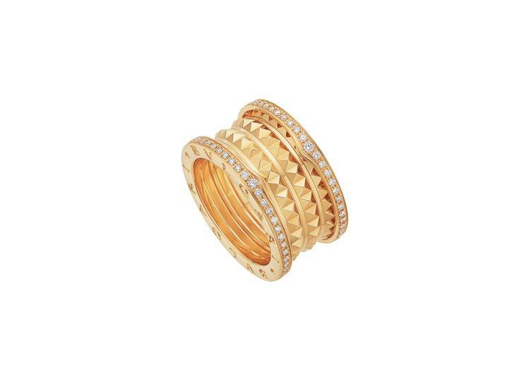 BVLGARI B.zero1 Rock系列黃K金四環鑲鑽戒指,約23萬8,90...