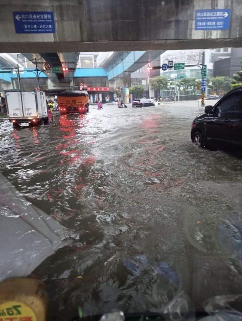 桃園龜山文化一路附近淹大水。圖/截取自臉書爆料公社