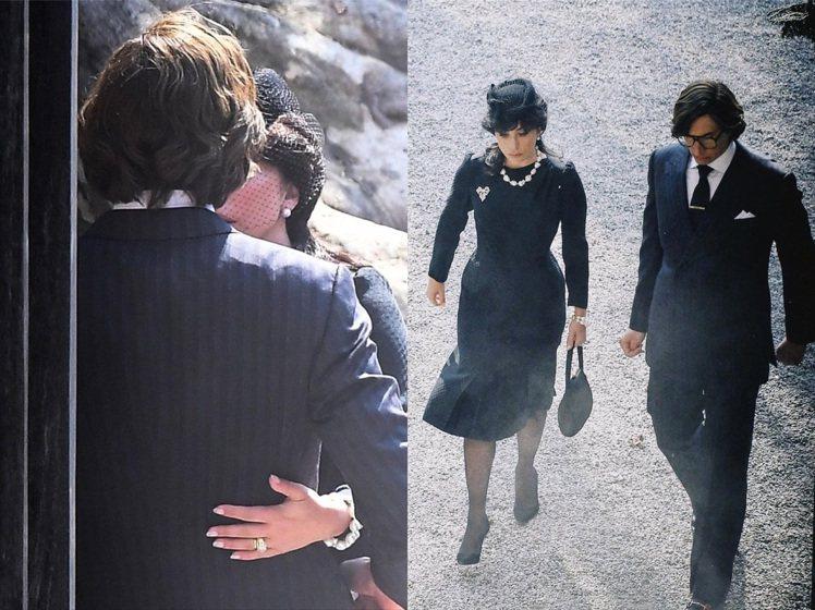 這兩張劇照翔實的呈現了Maurizio Gucci的關係,似遠似近、看似親密卻又...