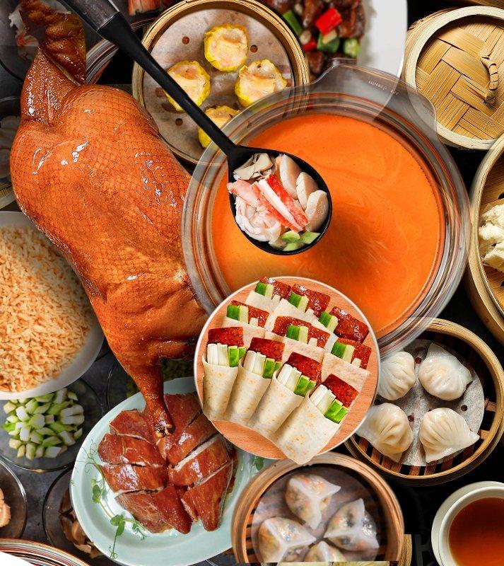 米其林烤鴨宴,亮點正是晶華軒餐廳招牌的片皮鴨三吃。台北晶華/提供