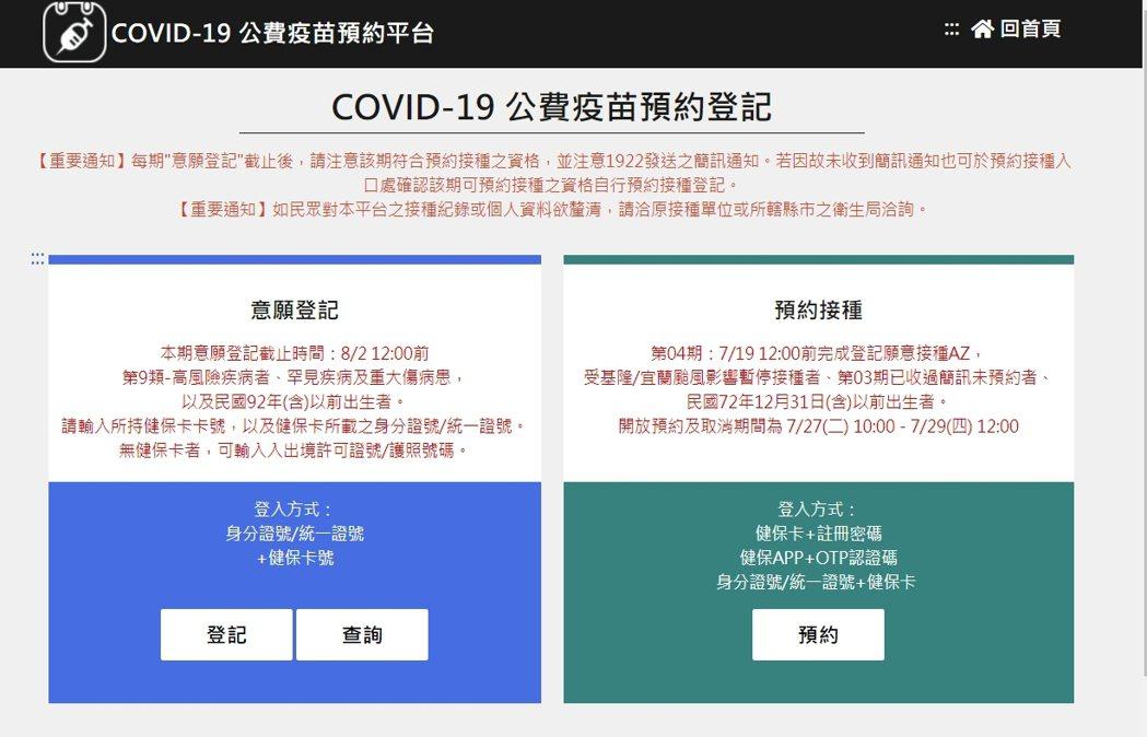 COVID-19 公費疫苗預約平台 ,滿18歲且尚未接種過任何疫苗者,須於開放登...