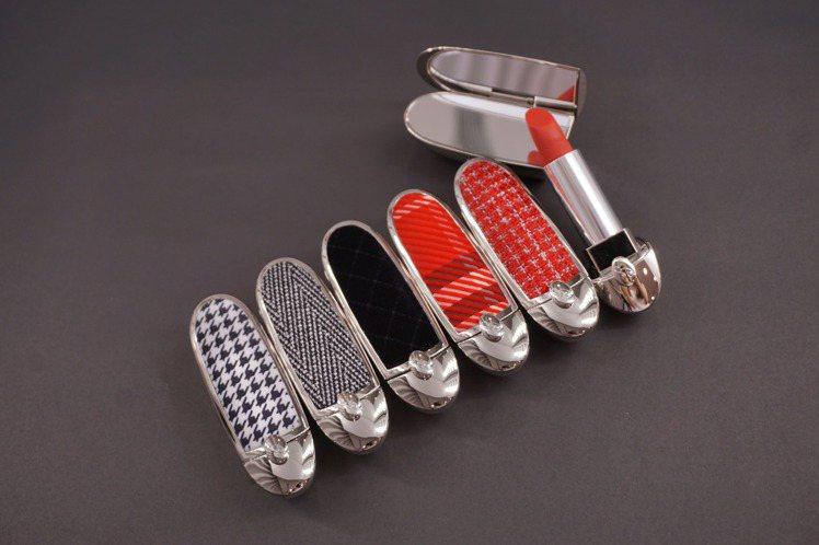 嬌蘭紅寶之吻高訂唇膏彩殼推出6款絲絨織物新彩殼/1,350元。圖/嬌蘭提供