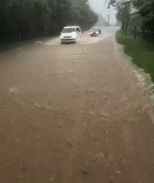 雙北午後大雨襲,金山陽金公路淹水黃泥流車涉險過。圖/民眾提供