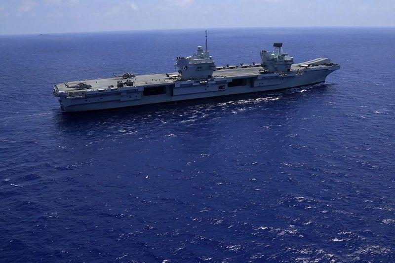 英國伊莉莎白女王號航空母艦今年5月22日啟程開往印太地區,7月27日穿過麻六甲海峽進入南海。美聯社