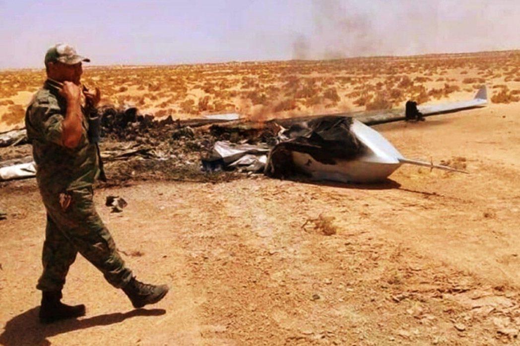 惹火土耳其後,被擊落摧毀的「翼龍二」。 圖/利比亞政府軍