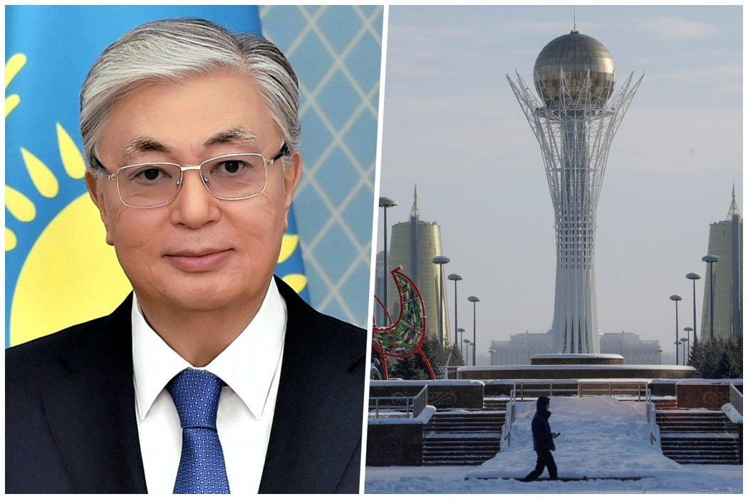 左為托卡葉夫(Kassym Tokayev),右為努爾蘇丹街景。 圖/維基共享...