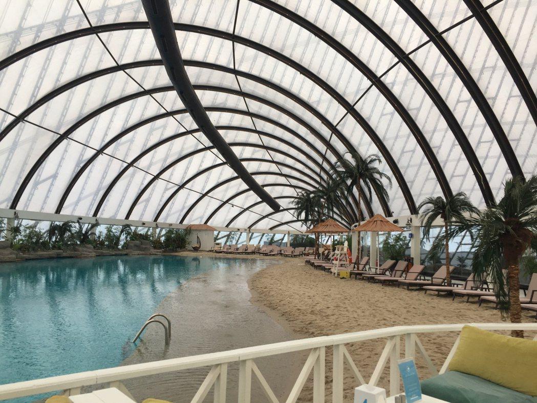 百貨公司頂樓的天空海灘俱樂部(Sky Beach Club)。 圖/作者自攝