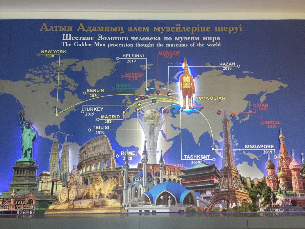 金人在世界各地的展示。 圖/作者自攝
