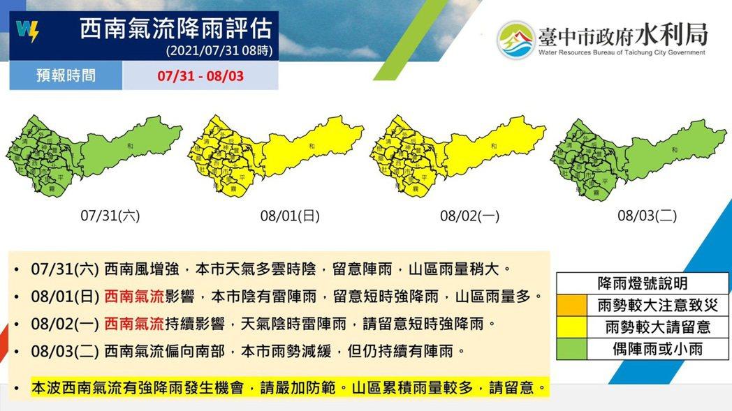 因應西南氣流移入,台中市府積極整備_,防範致災性大雨。圖/台中市水利局提供