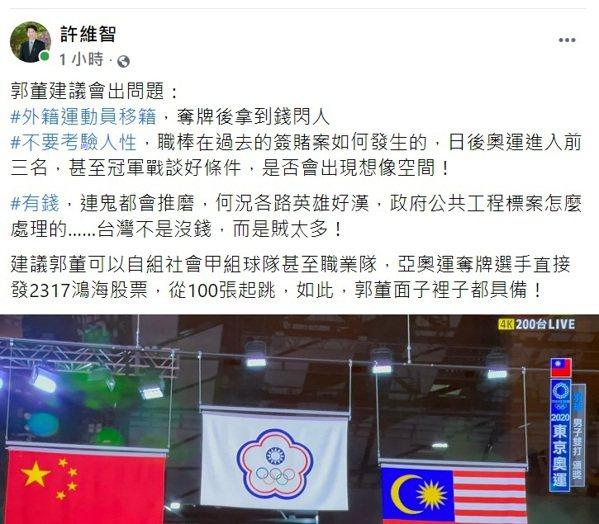 球評許維智今建議,鴻海創辦人郭台銘可以自組社會甲組球隊甚至職業隊,以栽培球員,或...