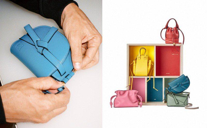 LOEWE在七夕前夕打造了一款珍藏版禮盒,裡頭裝了5款經典包的迷你尺寸。圖/LOEWE提供