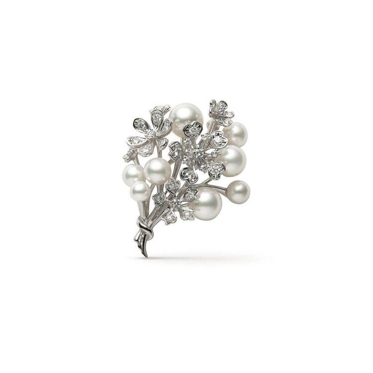 MIKIMOTO Bloom Collection珍珠花束造型胸針,18K白金鑲...