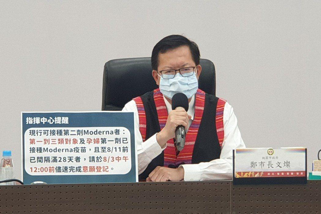 桃園市長鄭文燦宣布,打莫德納第二劑的1至3類對象及孕婦,接種疫苗要先上網意願登記...