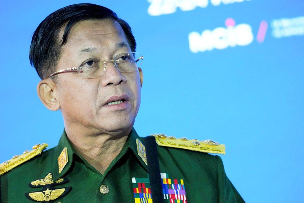 緬甸軍政府領袖敏昂萊一日宣布,延長緊急狀態至二○二三年八月。(路透)