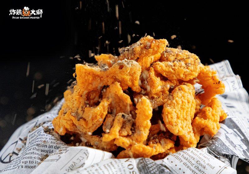 搖滾雞皮餅乾附有椒鹽粉可供搭配。圖/炸鷄大獅提供