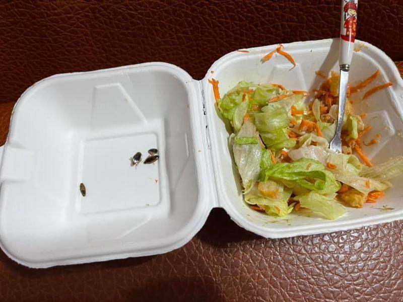 網友買健康餐卻吃到數隻蟑螂。圖/取自爆料公社