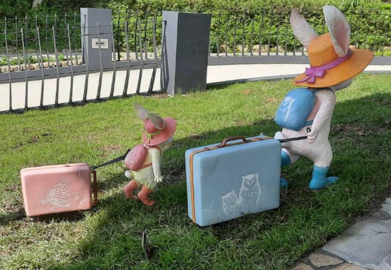 小兔拖著的行李箱上,有黃嘴角梟、淡紋青班蝶圖樣。 圖/讀者提供