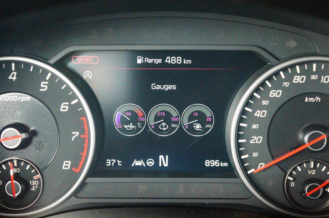 7吋全整合智慧型數位儀表板還能顯示油溫、渦輪壓力以及扭力輸出表。 記者趙駿宏/攝...