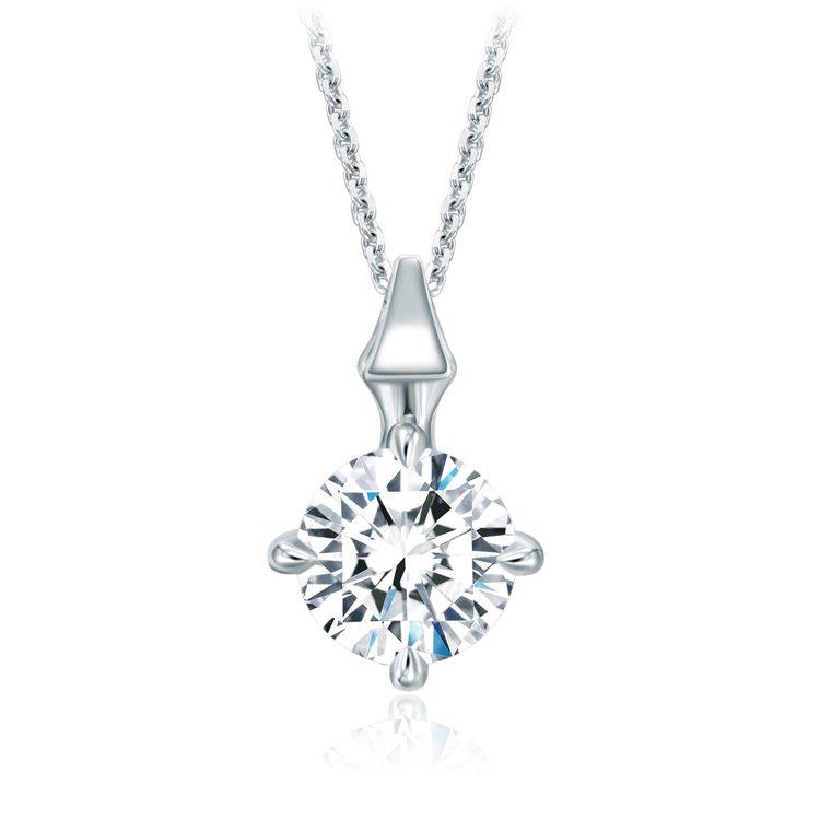 周大福「玄彬 925」系列9°C高冷系T MARK天然鑽石18K白金美鑽項鍊立體...