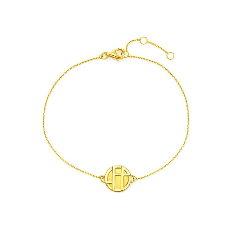 周大福「玄彬 925」系列18K黃金手鍊,約9300元起。圖/周大福提供