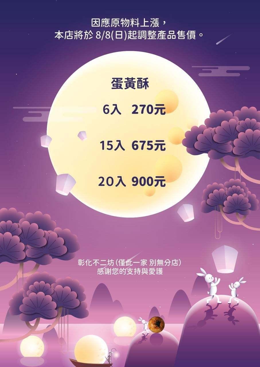 彰化排隊名店不二坊蛋黃酥,在臉書宣布8月8日起,開放中秋節電話訂購,並以原物料上...