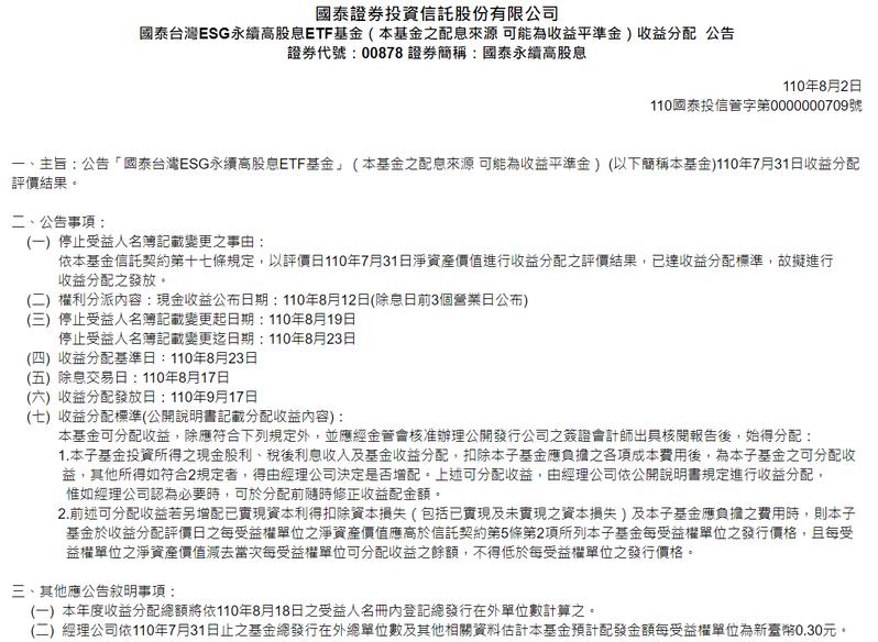 00878 8月除息擬配發0.3元。資料來源:國泰投信