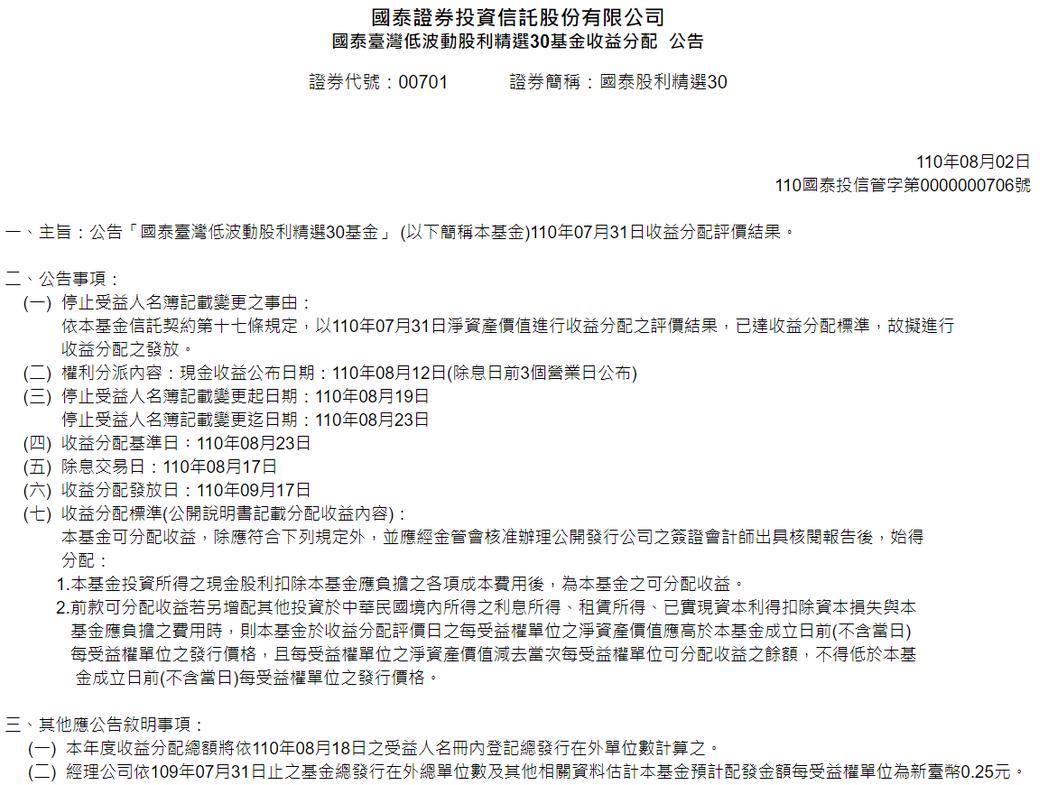 00701 8月除息擬配發0.25元。資料來源:國泰投信