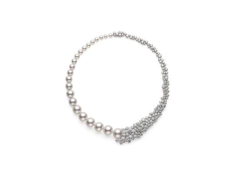MIKIMOTO頂級珠寶系列18K白金珍珠鑽石項鍊,價格電洽。圖/MIKIMOT...