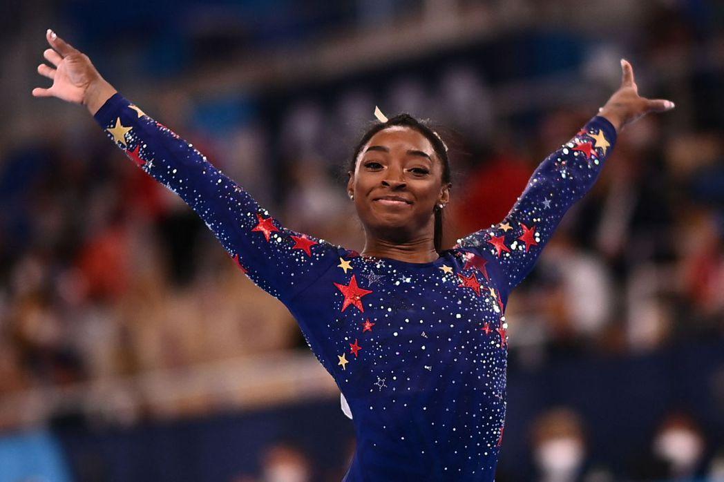 美國女子體操選手拜爾絲。法新社