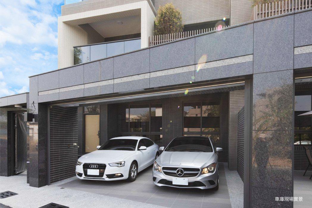 氣派尺度9&14米大面寬,前院闊氣停放雙車。圖片提供/匯成機構