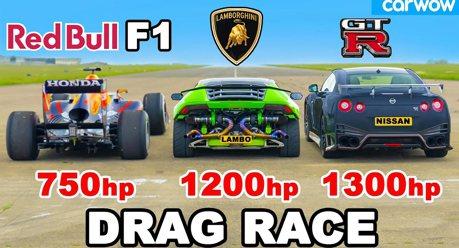 影/跨量級大亂鬥又來了! Lamborghini Huracan/Nissan GT-R能贏 Red Bull F1賽車?