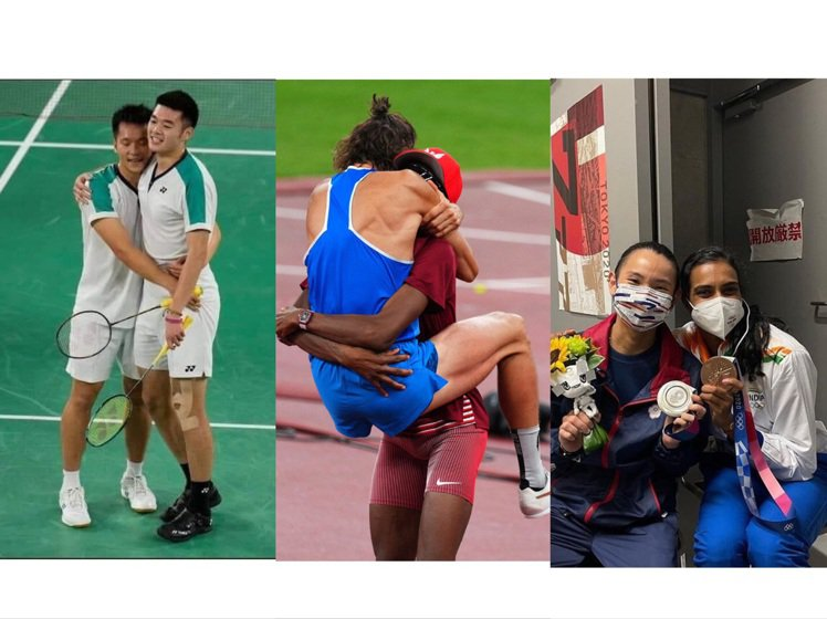 東京奧運有多張照片讓人深受感動,也象徵運動家精神與友好、鼓勵的良善。圖/(左)美...