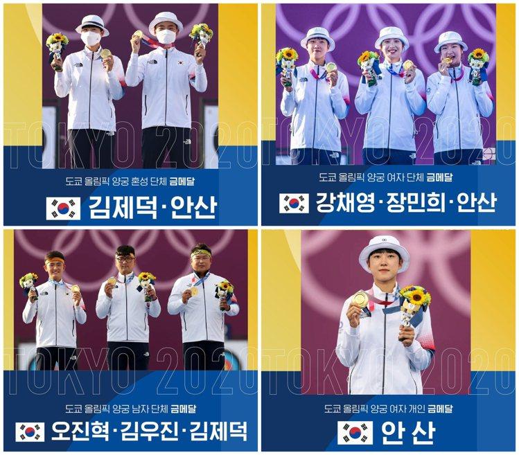 韓國在今年東京奧運分別獲得男子團體、女子團體、混合與女子個人共四面射箭金牌。 摘...