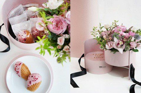 CNFlower與法朋聯手推出限量花草甜點雙層夢幻花禮。圖/CNFlower提供