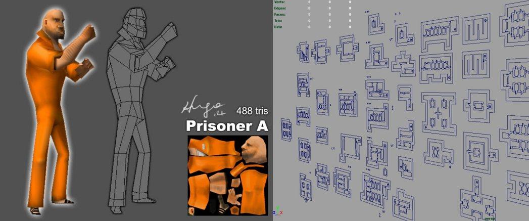 《落跑藍圖》的角色 3D 模型及關卡設計圖