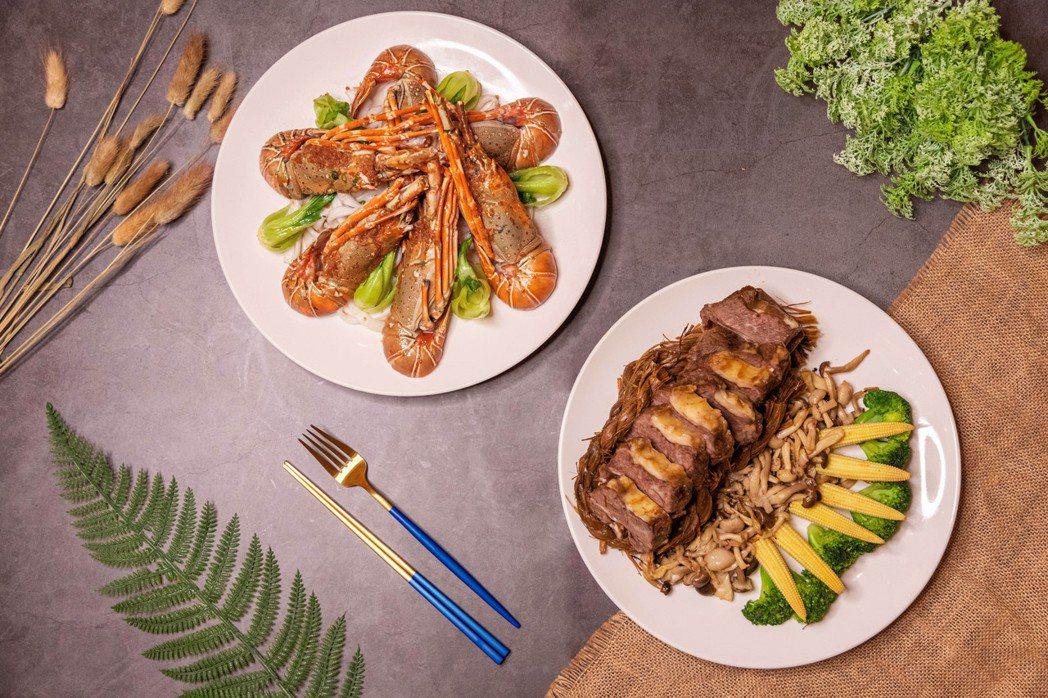 爸氣中式海陸饗宴-西施稻草牛+蒜蓉蒸龍蝦。