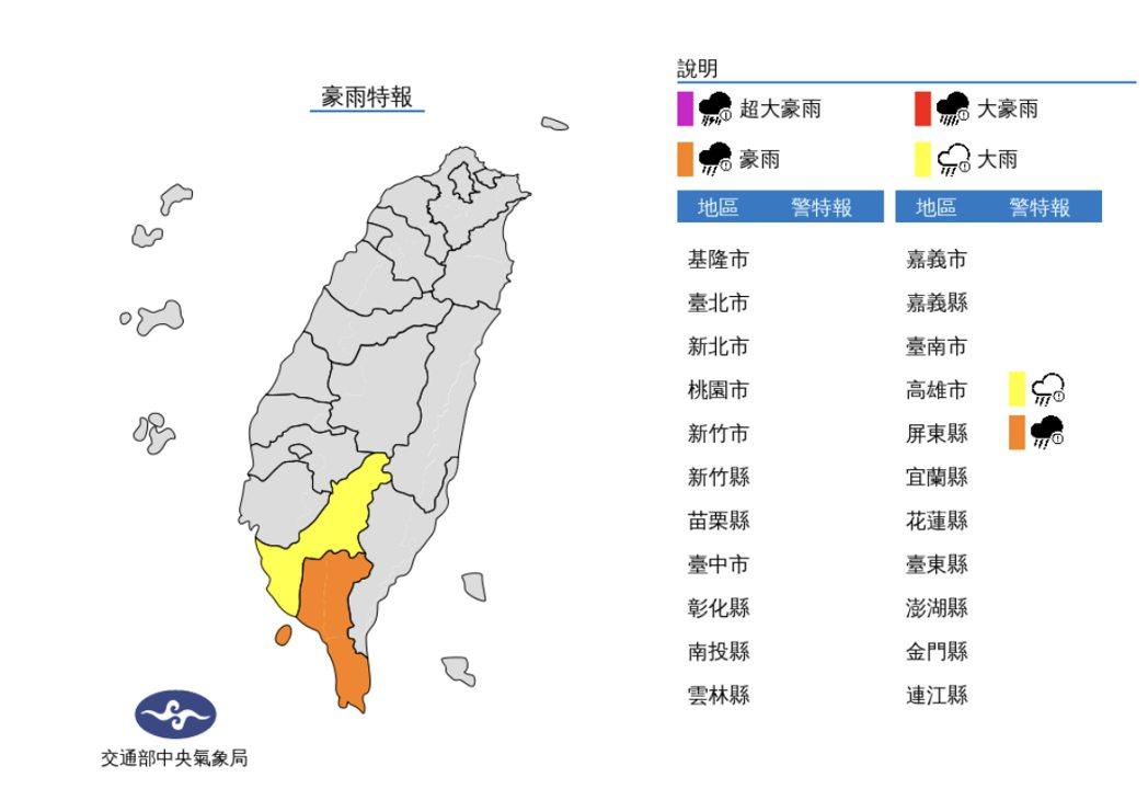 低壓帶及西南風影響,易有短延時強降雨,今(3)日屏東縣有局部大雨或豪雨,高雄地區...